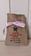 Personalized Santa Stop Here Small Father Christmas Xmas Santa Sack / Stocking Bag Jute Hessian